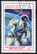 stamp printed in Laos shows astronaut