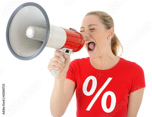 Leinwanddruck Bild Frau in Sale-Shirt schreit in Megaphon