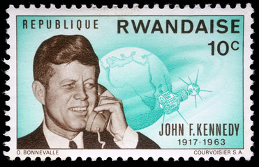 Stamp printed by Rwanda, shows John Fitzgerald Kennedy