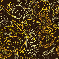ornate seamless, golden pattern  with bells