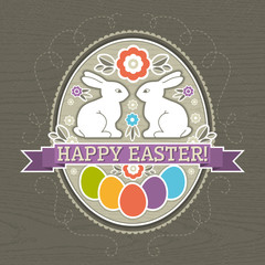 background with easter eggs and two rabbit