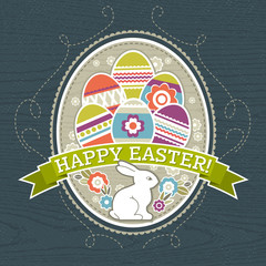 background with easter eggs and one rabbit, vector