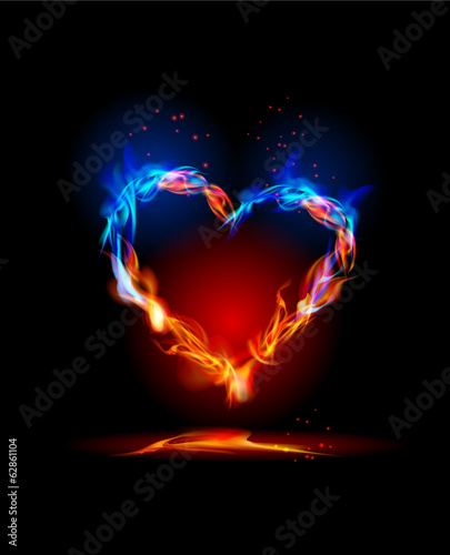 Fire collection Heart, love concept