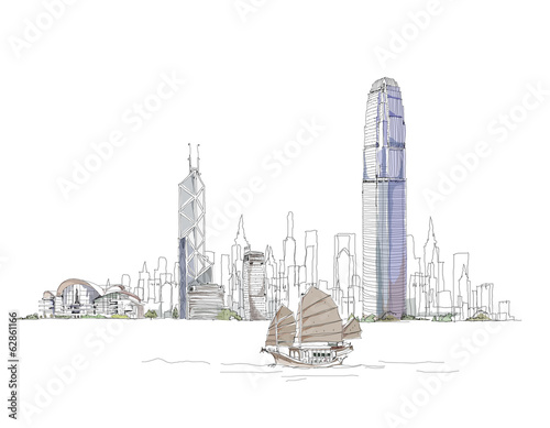Artistic sketch of Hong Kong bay, sketch collection