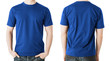 man in blank blue t-shirt, front and back view