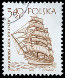 Stamp printed in Poland shows a vintage ship, circa 1950s