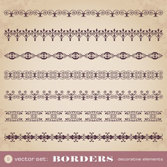 Borders decorative elements set 9
