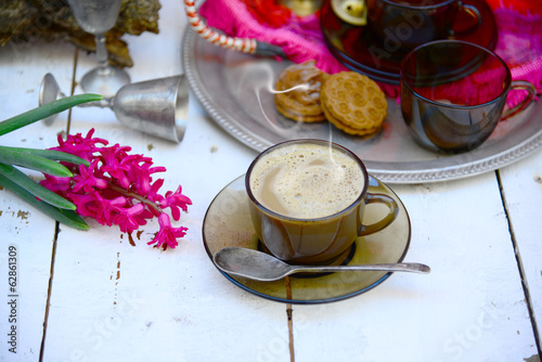 Coffee time in Eastern ethnic style