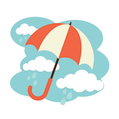 Illustration of an umbrella and rain clouds