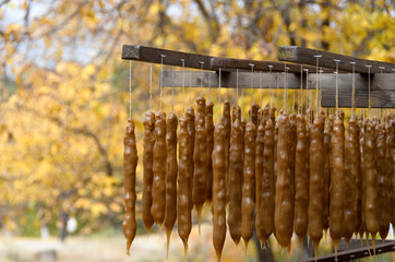 Churchkhela -  traditional sausage-shaped candies originating fr