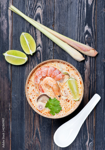 Spicy Thai Tom Yam soup with seafood