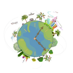 Travel through the planet, holiday concept illustration