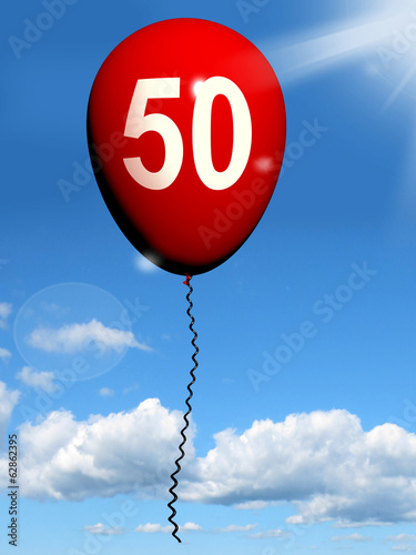 50 Balloon Shows Fiftieth Happy Birthday Celebration