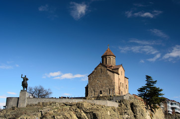 Metekhi Church of Assumption and  statue of King Vakhtang Gorgas