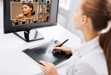 female retoucher working at home or office