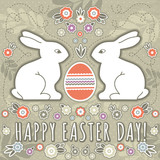 Fototapety greetings card with easter eggs and two rabbits