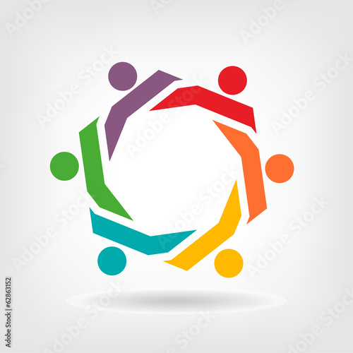 Vector Teamwork Hexagon people group