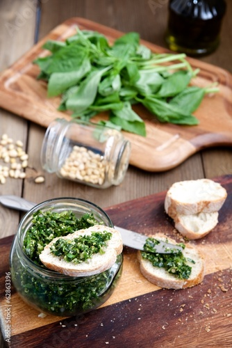 Pesto sauce with ingredients