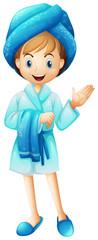 A fresh girl with her bathrobe