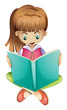 A young girl reading a book seriously