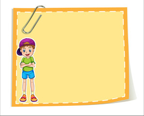 An empty paper template with a smiling young boy
