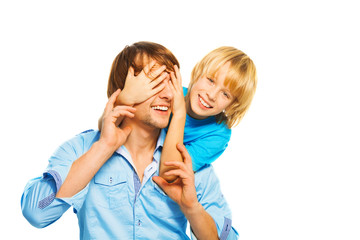 Little boy play with dad