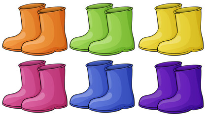 A group of colorful boots