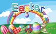 A hilltop with Easter eggs, a rainbow and a bunny