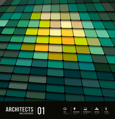 Architects abstract multicolored tiles materials background