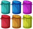 Six colorful bins
