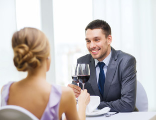 young man looking at girlfriend or wife