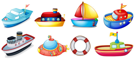 Collection of toy boats
