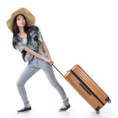 Exciting Asian woman drag a luggage