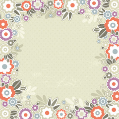 beige background of color flowers, vector