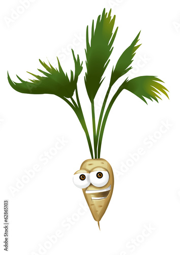 Happy parsnip cartoon character, smiling