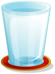 A clear drinking glass