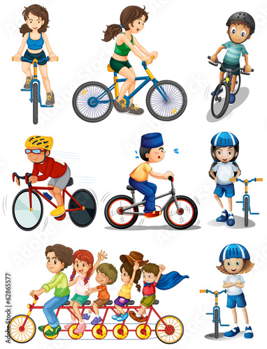 People biking