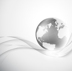 Abstract gray background with globe