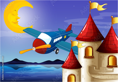 A sleeping moon, an airplane and a castle