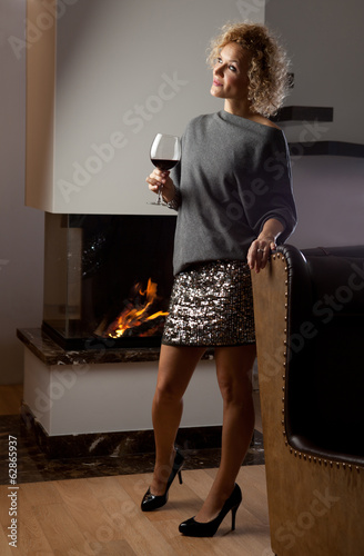 Woman with wino glass
