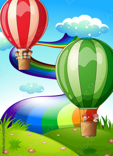 Floating balloons with kids