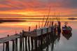 Pôr do Sol no cais artesanal e pesca da Carrasqueira