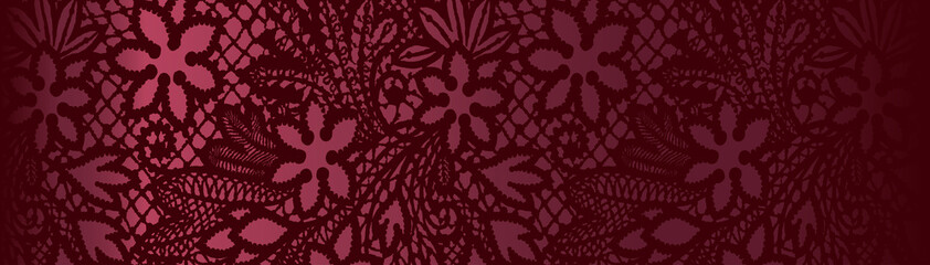 red background with lace pattern