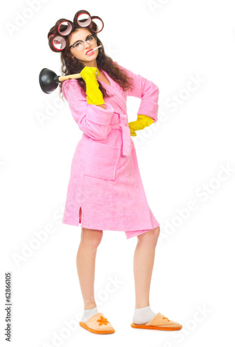Funny housewife with plunger