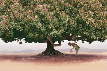 Chica regando un arbol