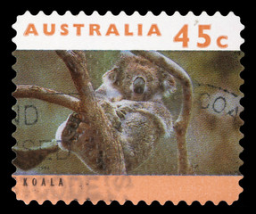 Stamp printed in Australia shows a Koala, circa 1994