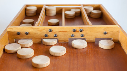 Typical dutch wooden boardgame - Sjoelen