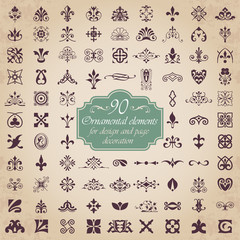 90 Ornamental elements for design and page decoration in gold