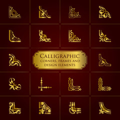 Calligraphic corners, frames and design elements in gold - set 1