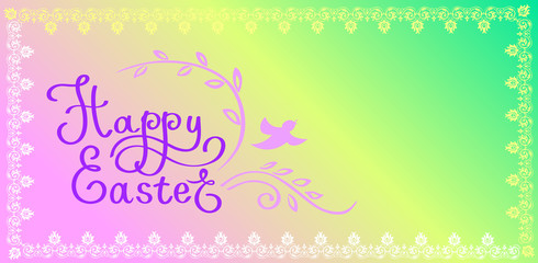 Calligraphical font composition Happy Easter.